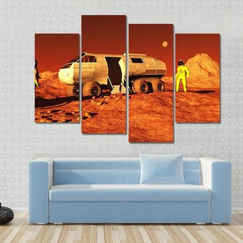3D Illustrations Of Astronaut And Mars Rover Multi Panel Canvas Wall Art