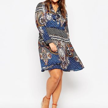 Alice & You Paisley Print Skater Dress With Scarf Neck at asos.com