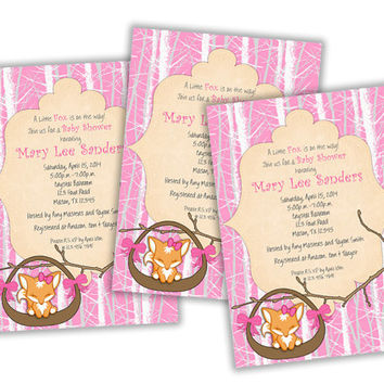 Baby Pink Fox Baby Shower Invitation- Baby Fox Girl Baby Shower Invites - Girl Shower Ideas - Hairbow Fox - Sleeping - Woodland Theme