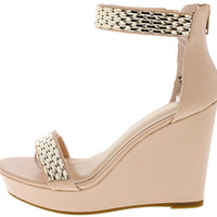 PARKER35 NUDE GOLD ACCENT ANKLE STRAP WEDGE