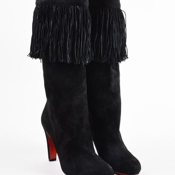 PEAPU2C Christian Louboutin Black Suede Fringe High Heel Majung Boots