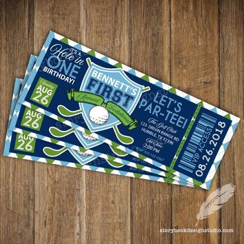Golf Ticket Birthday Party Invitations
