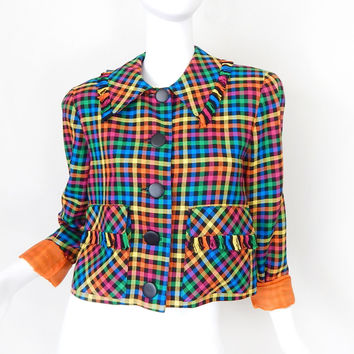 Vintage 80s Bright Colorful Check Fringed Women's Jacket - Boxy Pink Orange Yellow Green and Blue Cropped Ladies Blazer - Size Small