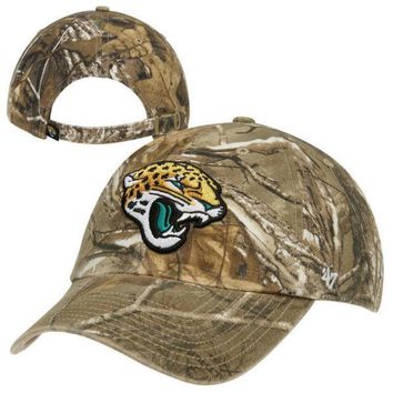 DCCKG8Q NFL Jacksonville Jaguars Team Logo Clean Up Adjustable Hat - Realtree Camo