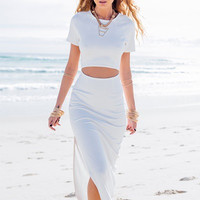 Knitted Crop Top & Slit Skirt Two Piece Set
