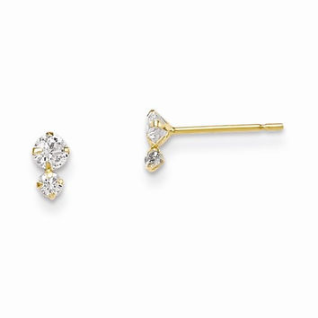 14k Madi K CZ Childrens Post Earrings