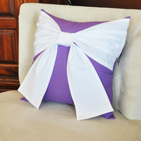 CYBER MONDAY SALE Throw Pillow White Bow on Lavender Pillow 14x14 -Purple Pillow-
