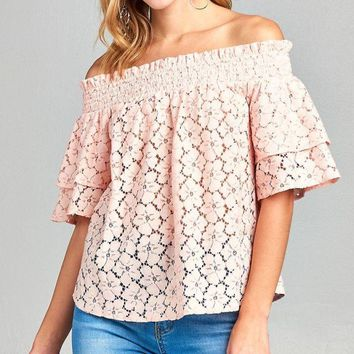 Ladies fashion smocked double layered short sleeve off the shoulder lace top