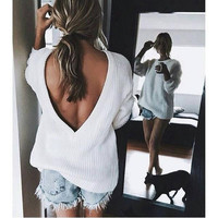 ♡ Open V-back Sweater Loose Pullover Women Basic Casual Knitwear ♡