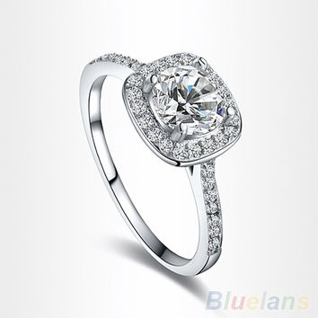 Women's 9K White Gold Plated Zircon Crystal Engagement Wedding Jewelry Ring = 1932499396