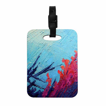 "Carol Schiff ""Coral Reef"" Coral Teal Painting Decorative Luggage Tag"
