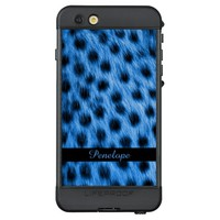 Wild Blue Spotted Cheetah Fur Look Add Your Name LifeProof® NÜÜD® iPhone 6s Plus Case