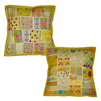 2pc Yellow Decorative Vintage Throw Pillow, Hand Embroidered Accent Pillow With patchwork, tribal pillow cover, Sofa pillow Pillow for couch