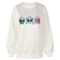 EAST KNITTING H192 New 2015 Punk Style Saucer Man Alien Printing Sweatshirt For Women White Color Cool Sweatshirt Casual Hoodies