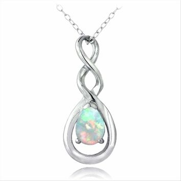 Sterling Silver Simulated White Opal Triple Infinity Twist Necklace