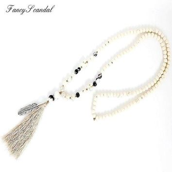 PEAPGC3 White stone turquois beads handmade tassel pendant long necklace boho style knotted necklace women jewelry