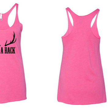 Save a rack antler country breast cancer awareness tank top. Breast cancer tank top. country tank top