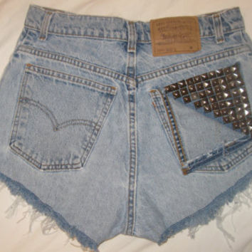 cheap high waist denim jean shorts custom made studded dyed levi's