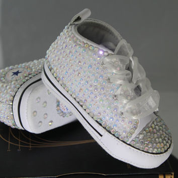 Baby- Infant- Baptism- Christening- Custom Converse- Crystal/ Pearl Studded Shoes- Baby Shower Gift Set- Baby Boys- Baby Girls- Size NB & Up