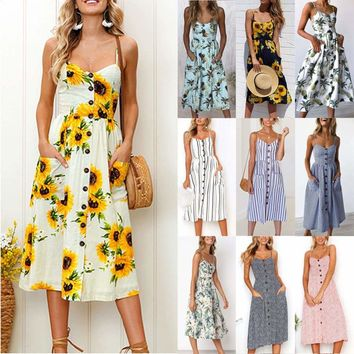 US Womens Summer Midi Dress Casual Beach Slip Dresses Strappy Sundress Ball Gown