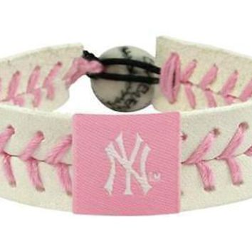 New York NY Yankees MLB Baseball Leather Pink Bracelet