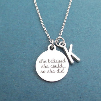 Personalized, Letter, Initial, She believed, She could..., So she did, Silver, Necklace, Birthday, Best friends, Sister, Gift, Jewelry