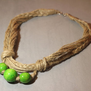 Jewelry handmade Hemp Necklace. Wood Beads Necklace. Eco Chokers. Unique necklaces. Hemp Jewelry. Green beads. ThreeSnails. Free Shipping!!!