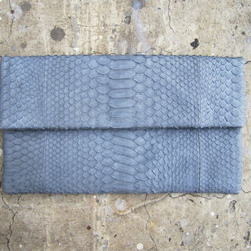 Grey Pastel Fold Over Python Snakeskin Leather Clutch by linmade