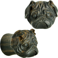 "1/2"" Organic Areng Wood Pug Hand Carved Plug Set 