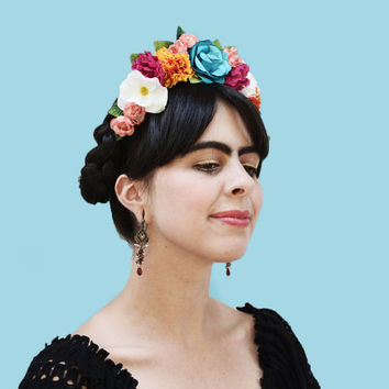 Frida Kahlo Colorful Floral Headband - Flower Crown, Frida Hair, Frida Costume, Mexican Headpiece, Frida Flower Headband, Frida Flowers