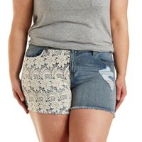 Plus Size Crochet Cut-Off Denim Shorts