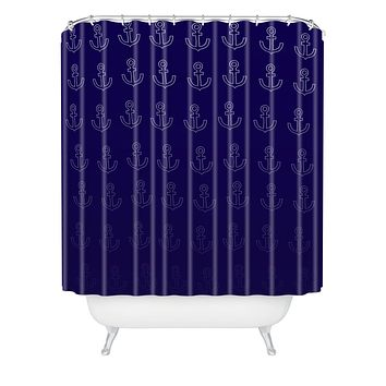 Leah Flores Anchor Pattern Shower Curtain