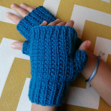 Hand Knit Simply Textured Fingerless Mittens Choose from a Variety of Colors