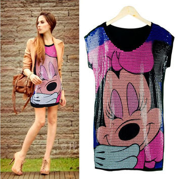 [Sunny] summer fashion loose fit clothing cartoon mouse paillette women's sequin t-shirt dress shirts free shipping
