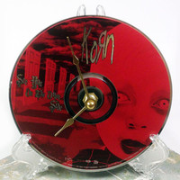 CD Clock, Desk Clock, Wall Clock, Korn, Recycled Music Compact Disc, Upcycle, Battery, Wall Hanger & Stand ALL INCLUDED
