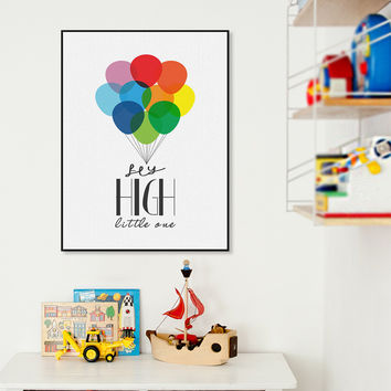 Nordic Colorful Ballons Minimalist Motivational Typography Quotes Poster Print Nursery Wall Art Kids Room Decor Canvas Painting