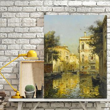 Print Vintage Water Town Venice Landscape Oil Painting on Canvas Poster Modern Wall Art Pictures for Living Room Cuadros Decor