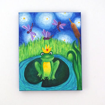 Children's Art THE FROG PRINCE 11x14 canvas painting by nJoyArt