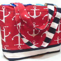 Extra Large Beach Bag in Nautical Red, White, and Blue