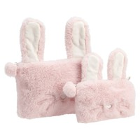 Cozy Lux Faux Fur Peach Bunny Beauty Pouches