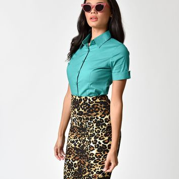 Retro Style Green Short Sleeve Collared Button Up Cotton Blouse