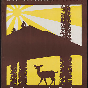 "c.1930s ""US American National Parks Deer Antelope"" Travel Poster-Antique-Old-Vintage Reproduction Photograph/Photo: Gicclee Print. Frame it!"