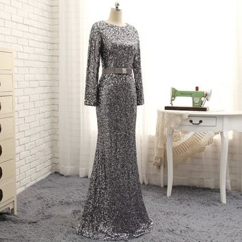 A-line long evening gown / formal dress sequins & crystals   Sizes:  2-28