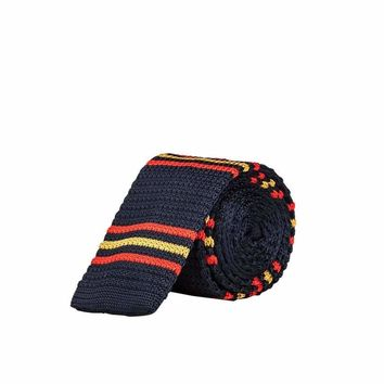NAVY BLUE WITH RED & YELLOW LINES