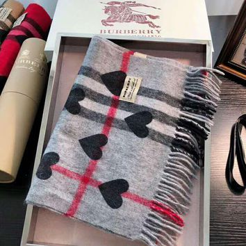 BURBERRY Popular Stylish Heart Pattern Plaid Cashmere Cape Tassel Scarf Scarves Shawl Accessories