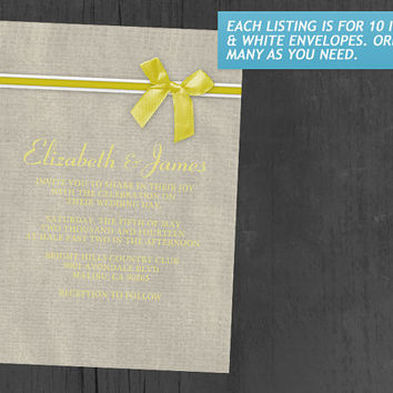 Yellow Rustic Burlap Wedding Invitations | Invites | Invitation Cards