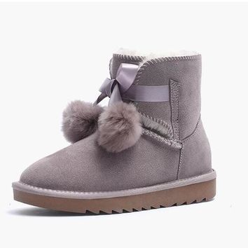 2018 winter new snow boots female short tube, leather and fur short boots