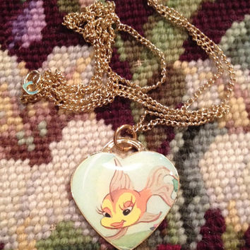 Disney's Pinocchio Cleo the Gold Fish Gold Heart Shaped Dog Tag Necklace