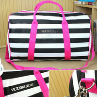 Victoria's Secret Inspired Black & White Stripe Travel/Gym Bag