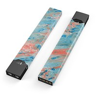 Skin Decal Kit for the Pax JUUL - Abstract Wet Paint Coral Blues